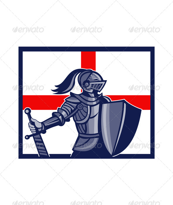 English Knight Holding Sword England Flag Retro - People Characters