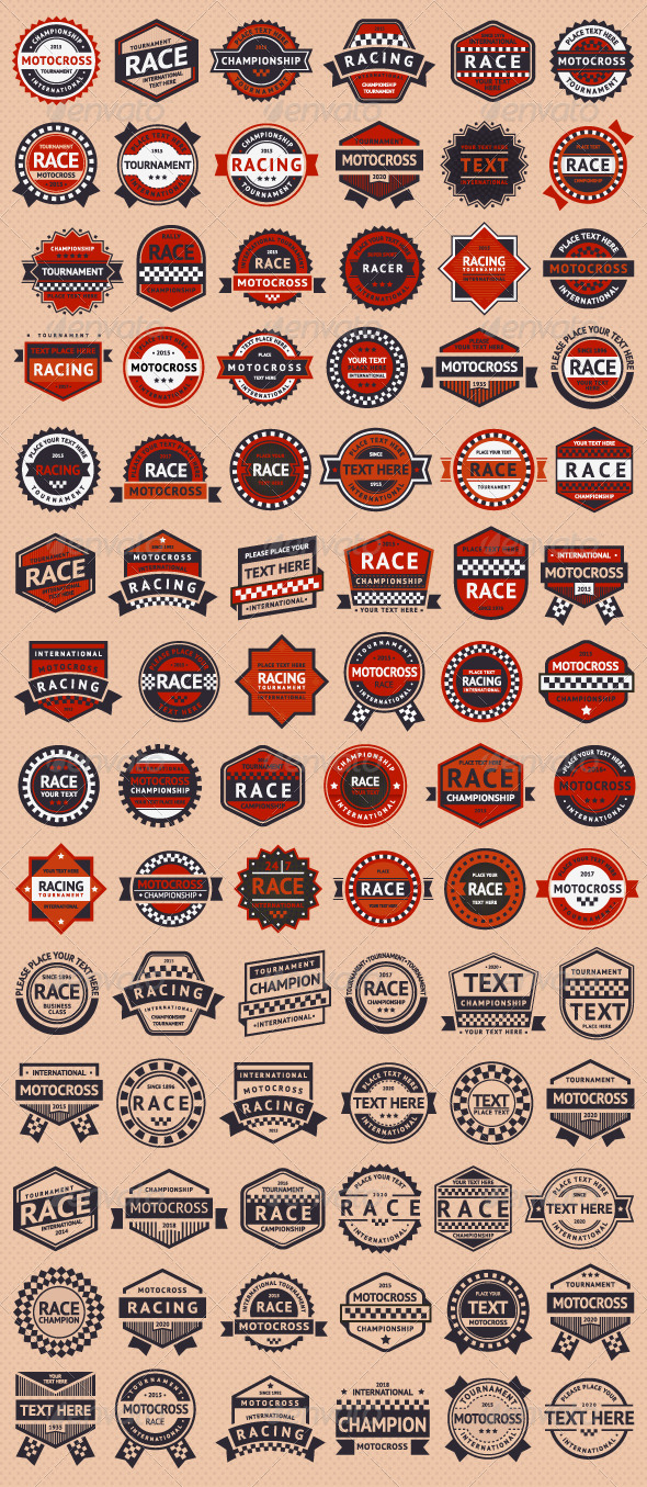 Set of 84 Race Insignia Stamps - Sports/Activity Conceptual
