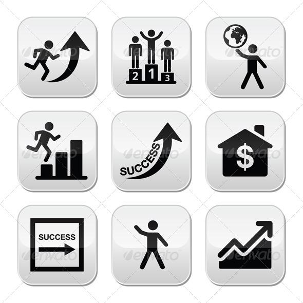 Success in Business, Self Development Buttons Set - Business Conceptual