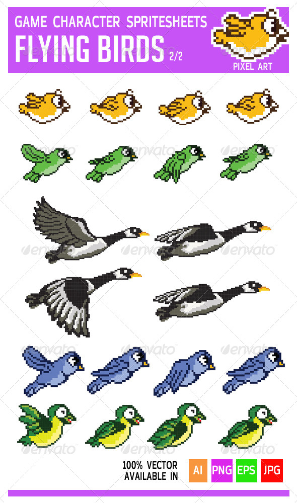 Flying Bird Game Character Pixel Art Sprite - Sprites Game Assets