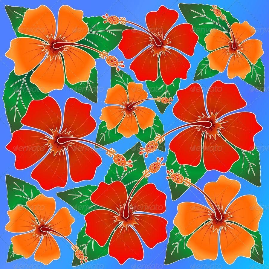 Hibiscus Batik Pattern By Bluedarkat