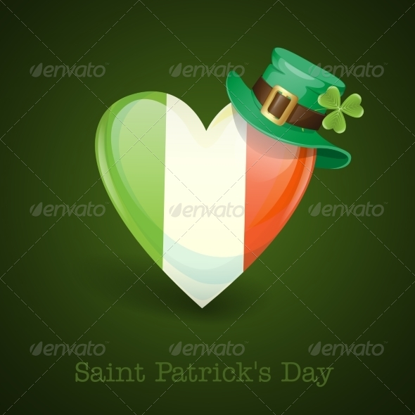 Irish Flag in the Shape of a Heart - Miscellaneous Seasons/Holidays