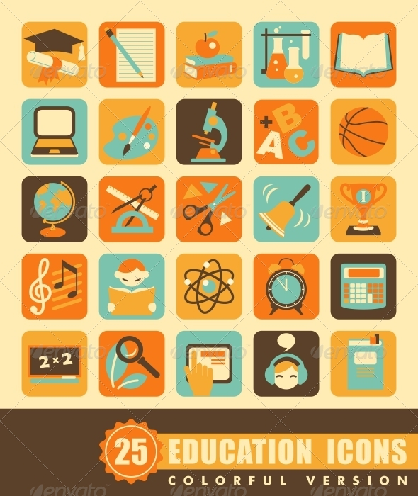 Flat Education Icons - Objects Icons