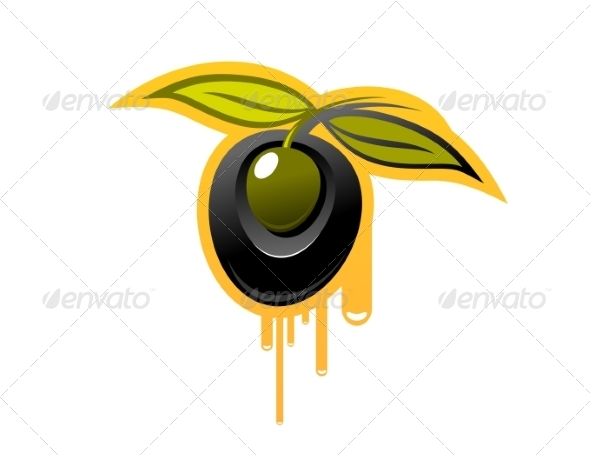 Shiny Black Olive Dripping Olive Oil - Food Objects