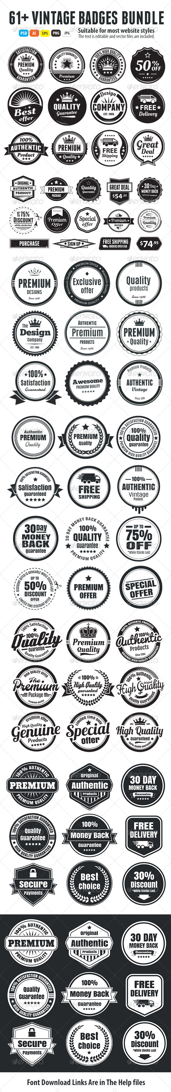 61+ Vintage Badges Bundle - Badges & Stickers Web Elements