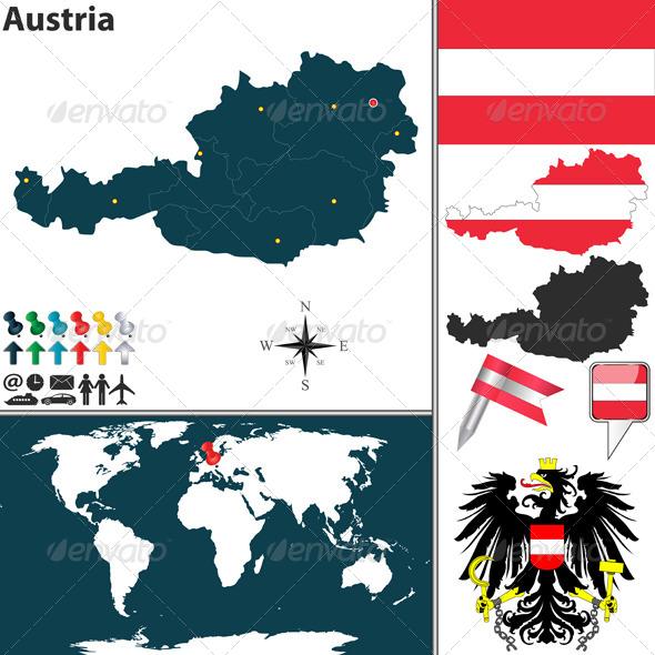 Map of Austria - Travel Conceptual
