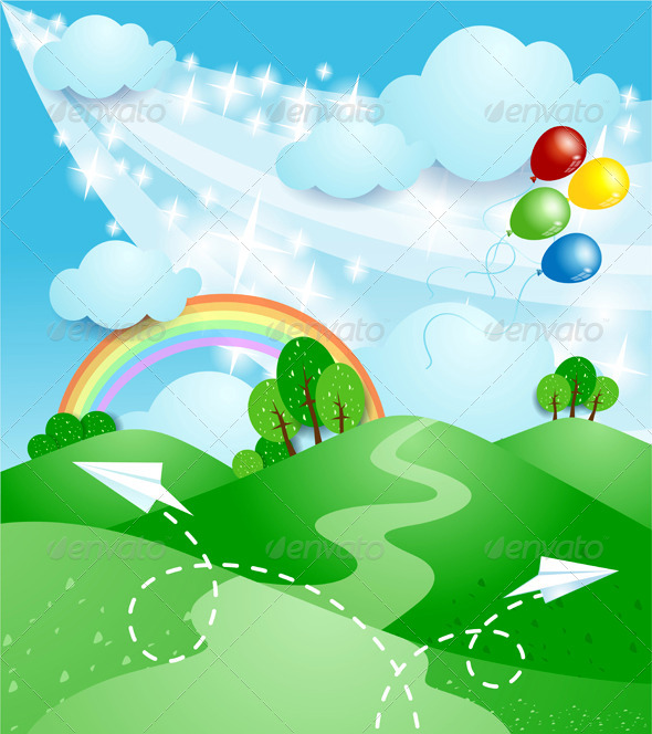 Spring Background with Rainbow - Landscapes Nature