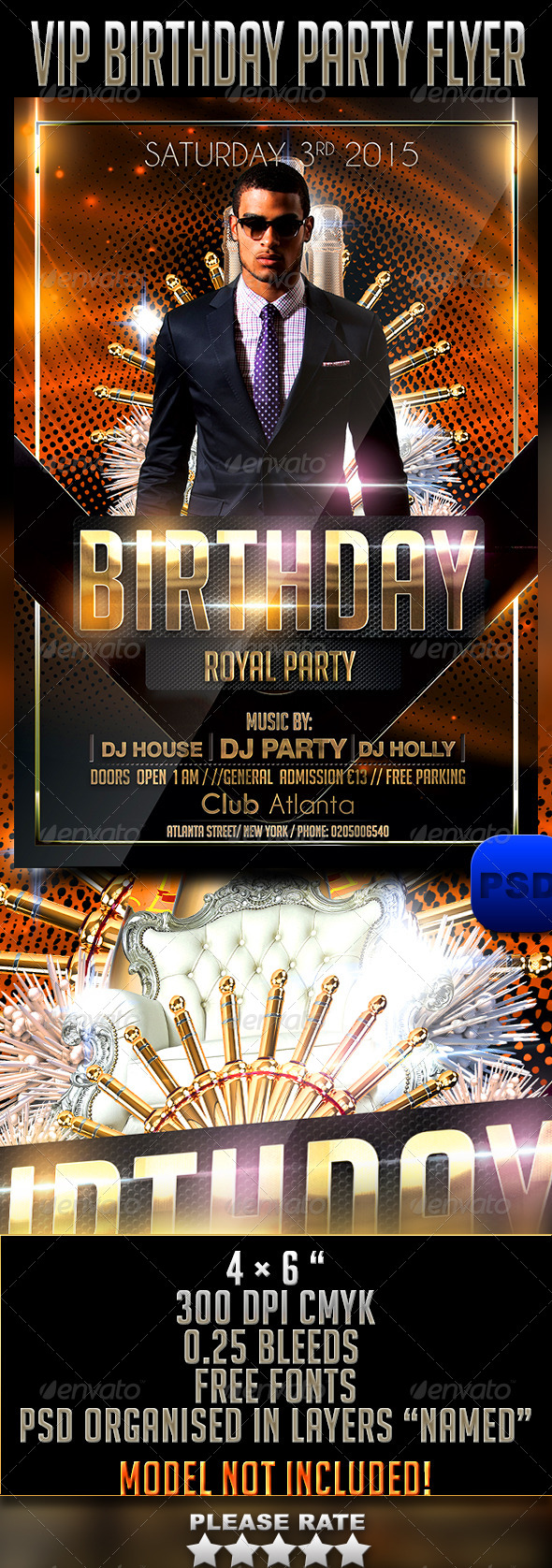 VIP Birthday Party Flyer - Events Flyers
