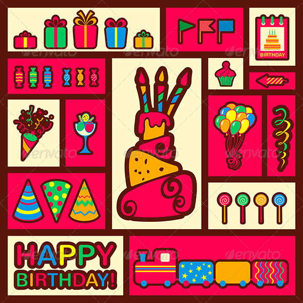 Happy Birthday Background Greeting Card - Birthdays Seasons/Holidays