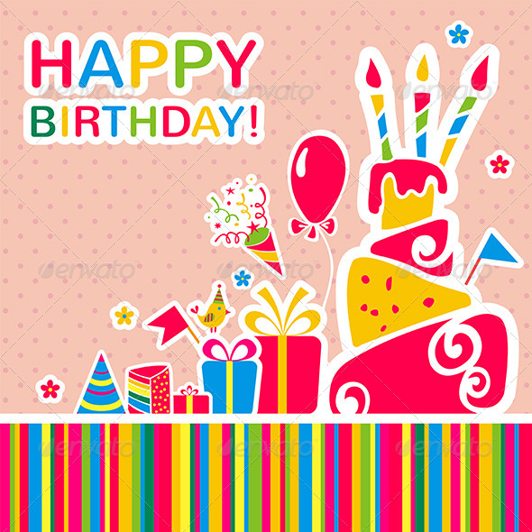 Happy Birthday Background Greeting Card By 7romawka7 Graphicriver