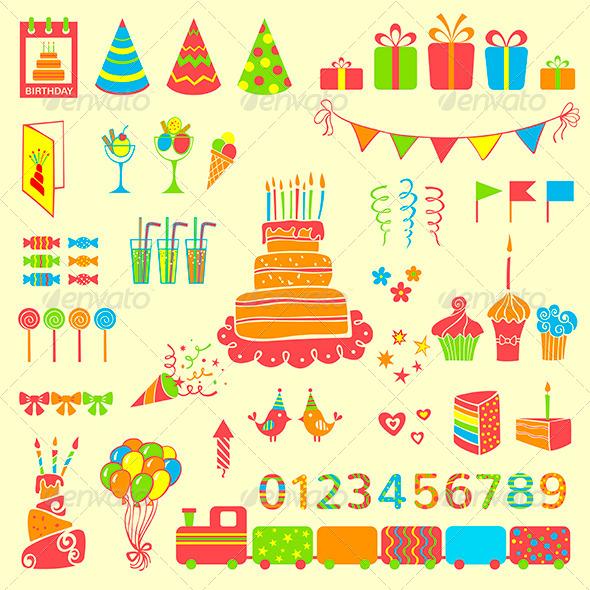 Set of Vector Birthday Elements - Birthdays Seasons/Holidays