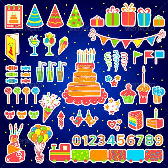 Set of Birthday Elements - Birthdays Seasons/Holidays