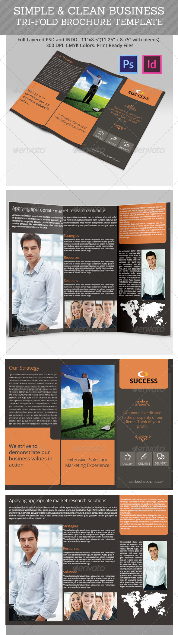 Simple & Clean Business Tri-Fold Brochure Template - Corporate Brochures