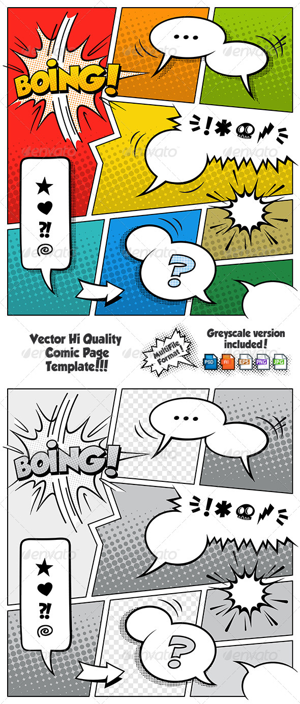 Color Comic Book Page Template - Vectors