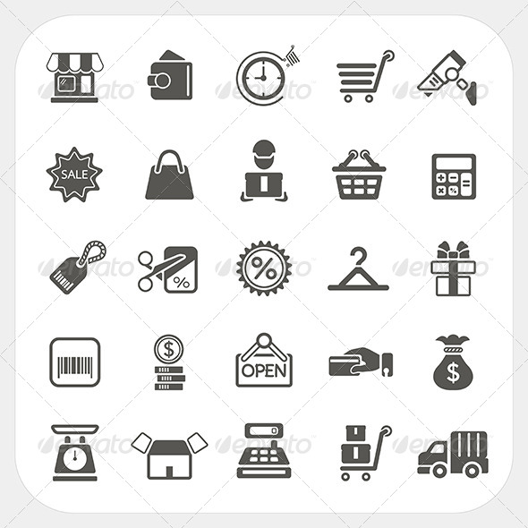 Shopping and Finance Icons Set - Commercial / Shopping Conceptual