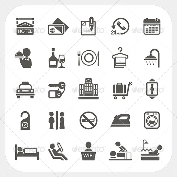 Hotel and Hotel Services Icons Set - Services Commercial / Shopping