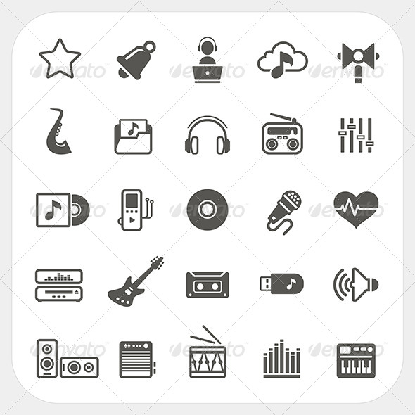 Music and Media Icons Set - Media Technology