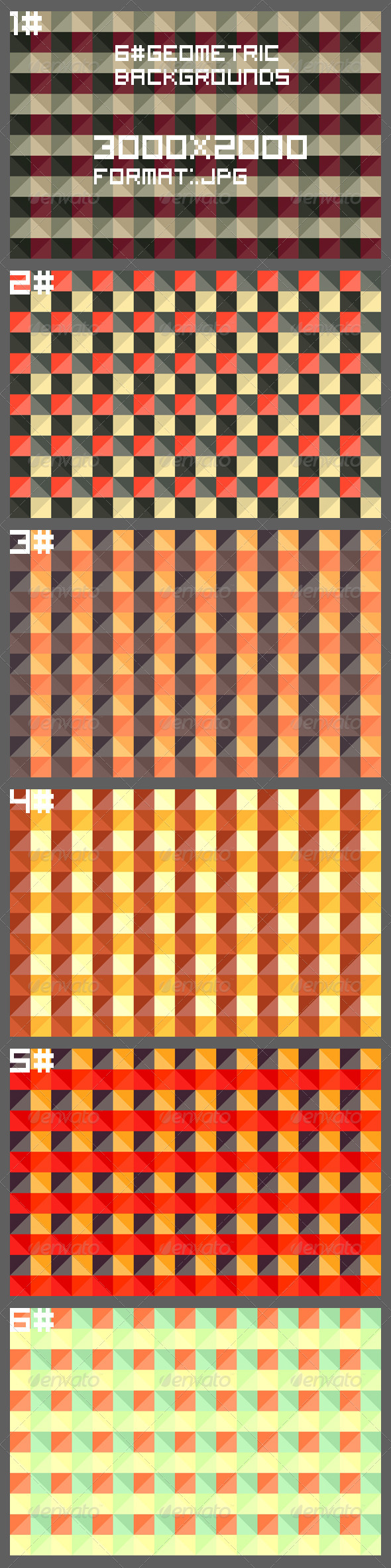 6 Geometric Backgrounds - Patterns Backgrounds