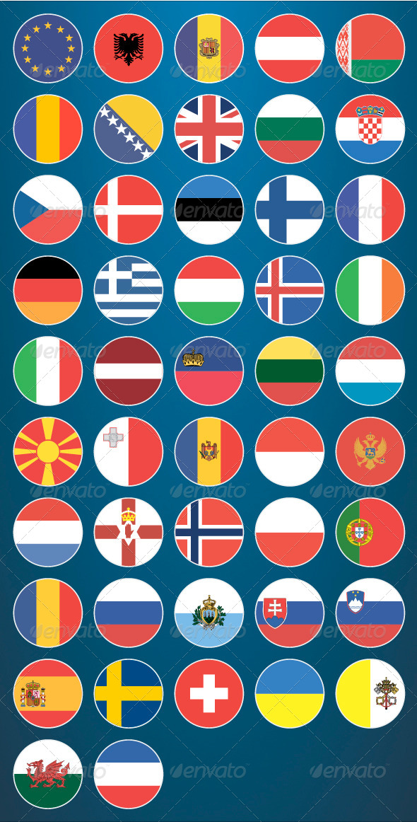 Flat Flag Icons Europe - Web Icons