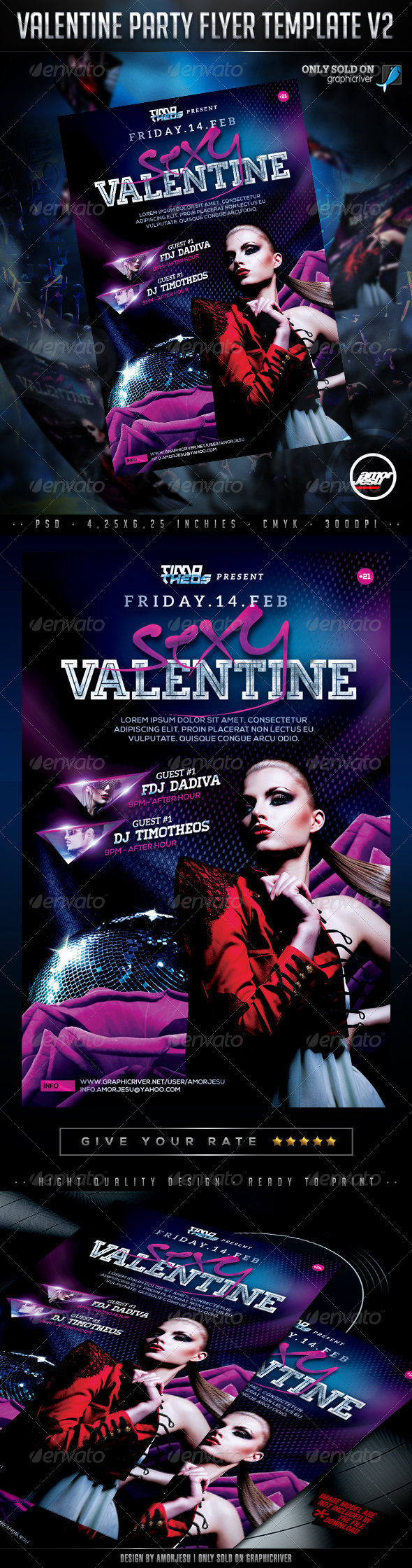 Valentine Party Flyer Template V2 - Clubs & Parties Events