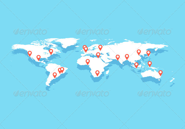 World Map With Big Cities, Vector  - Backgrounds Business