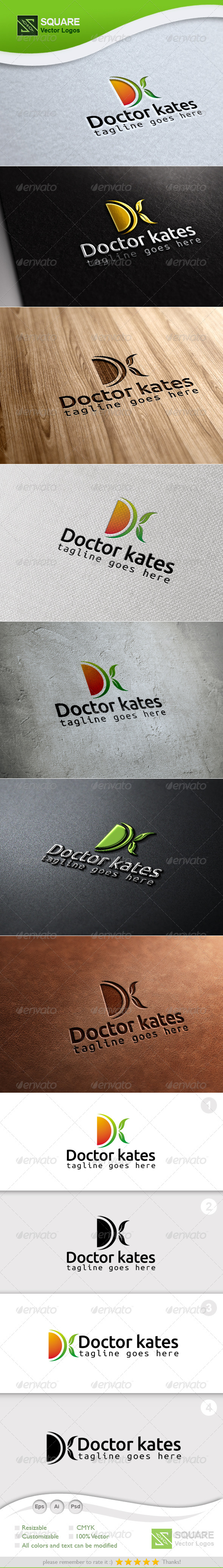 D, K, Leafs  Vector Logo Template - Letters Logo Templates