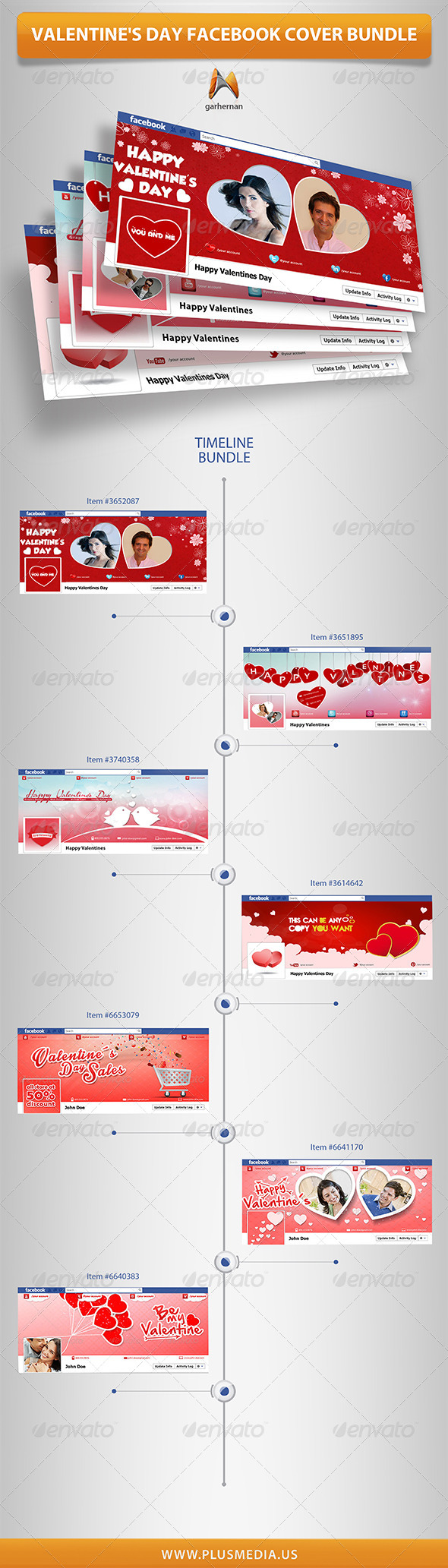 Valentine's Day Facebook Cover Bundle - Facebook Timeline Covers Social Media