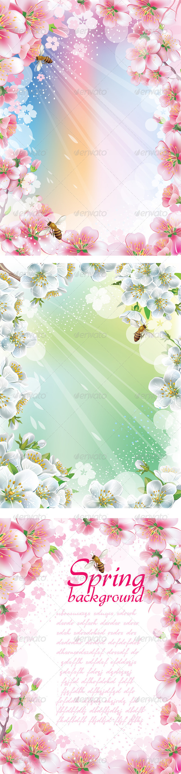 Set of Spring Backgrounds with Cherry Blossom - Seasons Nature