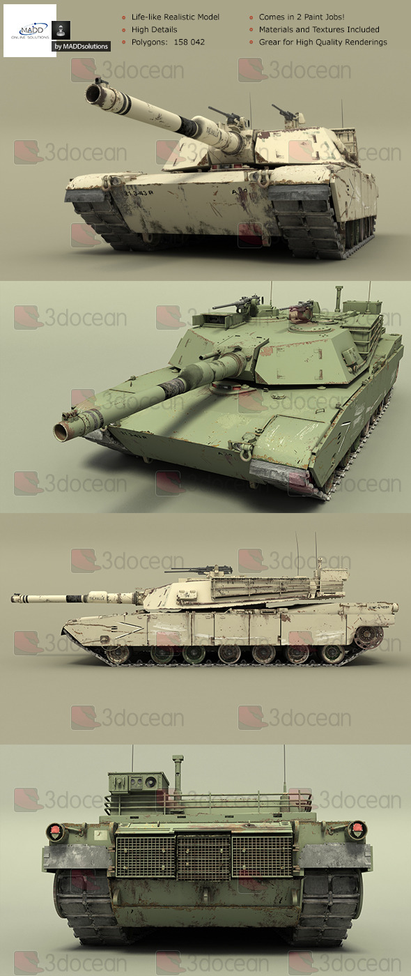 High Detail Realistic Tank - M1A1 Abrams - 3DOcean Item for Sale
