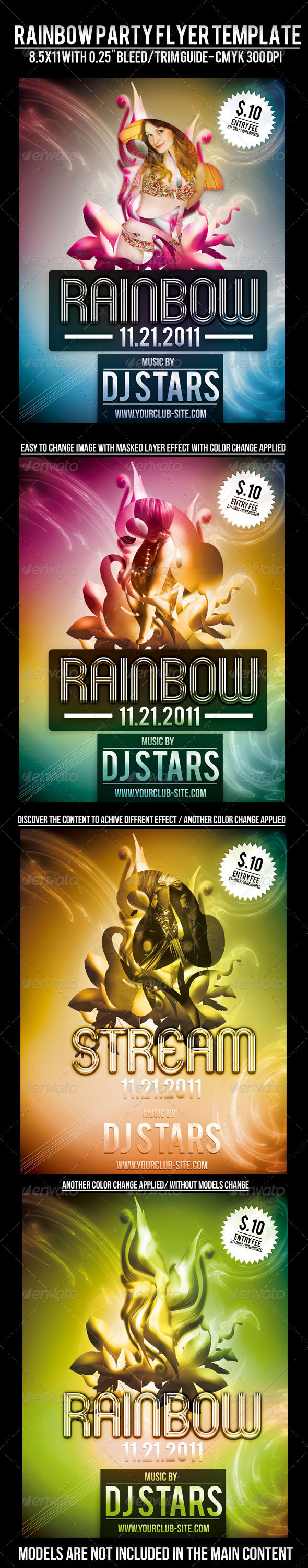 Rainbow Party Flyer Template - Clubs & Parties Events