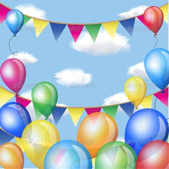 Balloons and Serpentine with Confetti in Sky  - Miscellaneous Seasons/Holidays