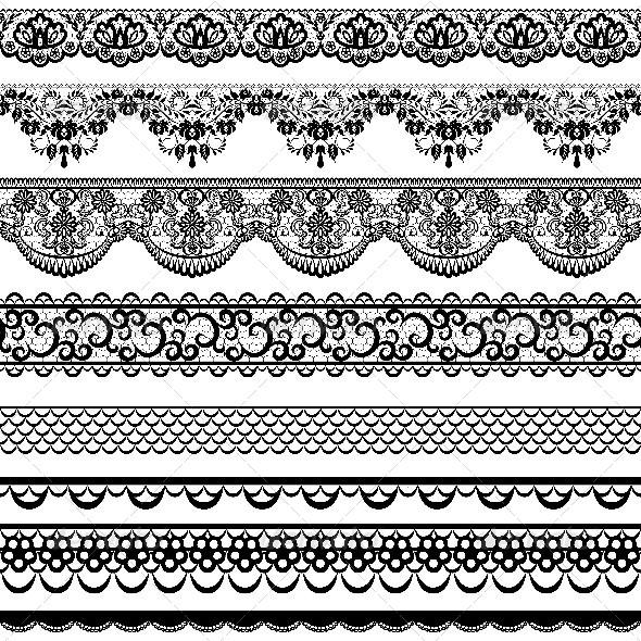 Set of Black Lace Borders  - Borders Decorative