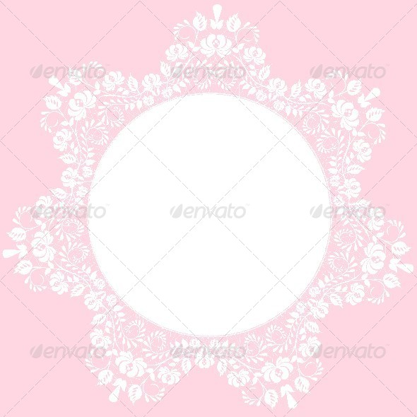 Lace Frame on Pink Background - Backgrounds Decorative