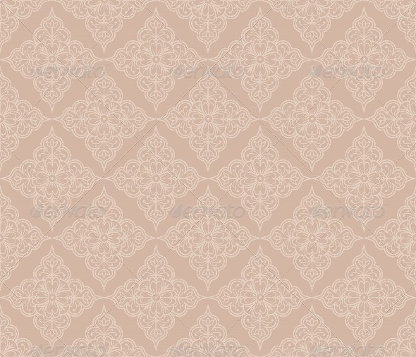 Floral Beige Seamless Pattern in Retro Style - Patterns Decorative