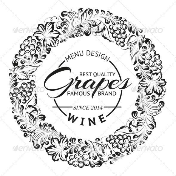 Grapes Design for Wine Menu - Decorative Symbols Decorative