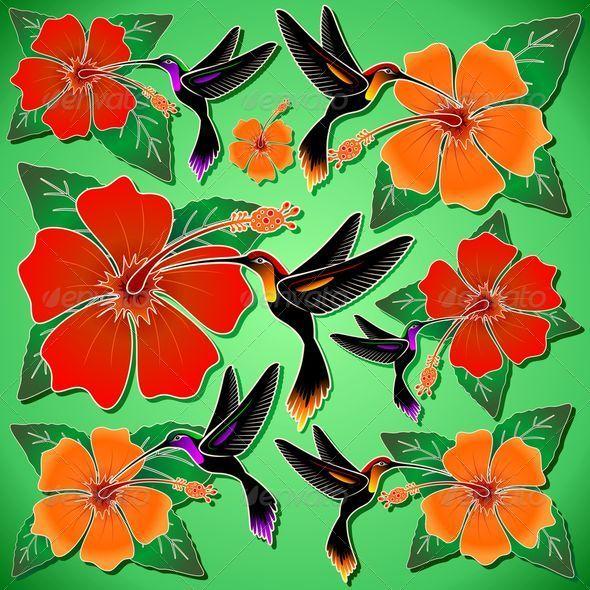 Hummingbird and Hibiscus Batik Pattern - Animals Characters