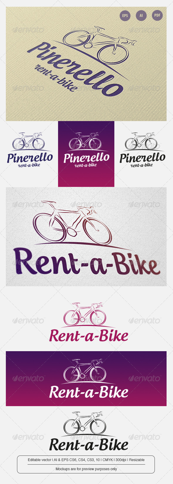 Pinerello - Rent a Bike - Objects Logo Templates