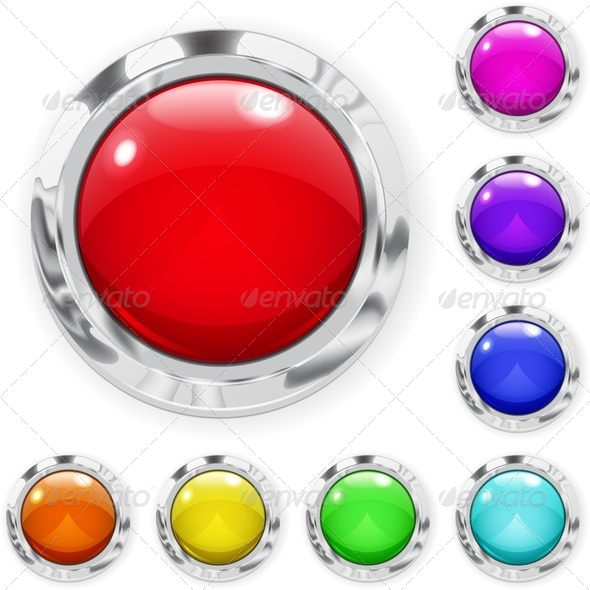 Set of Multicolored Glass Buttons - Web Elements Vectors