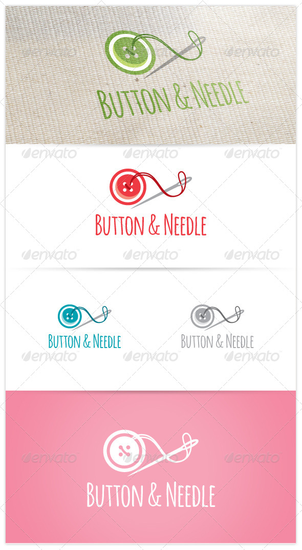 Button & Needle Logo - Objects Logo Templates