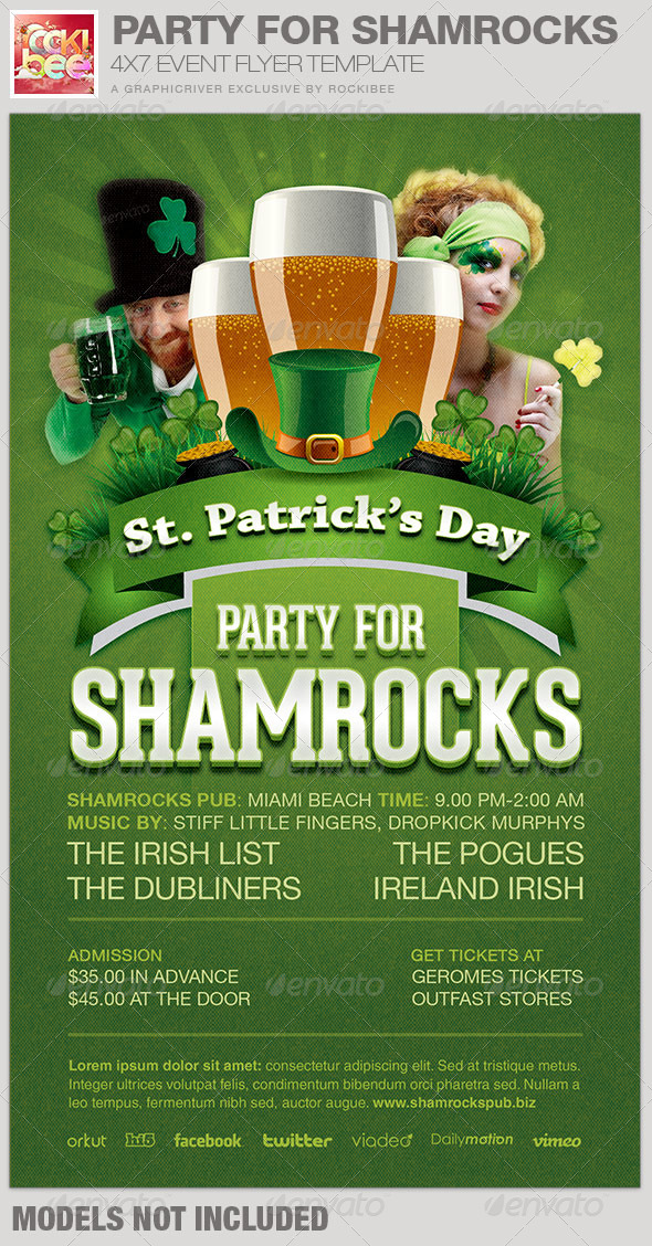 Party For Shamrocks St. Patrick's Flyer Template - Events Flyers