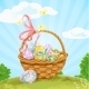 Basket with Easter Eggs on the Lawn - GraphicRiver Item for Sale
