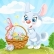 Easter Bunny with Basket of Eggs on Green Lawn - GraphicRiver Item for Sale