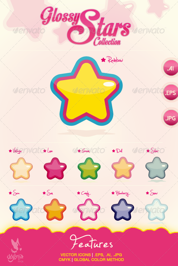 Vector Glossy Stars Icons Collection - Decorative Vectors