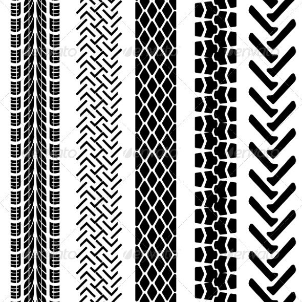 Set of Detailed Tire Prints, Vector Illustration - Web Elements Vectors