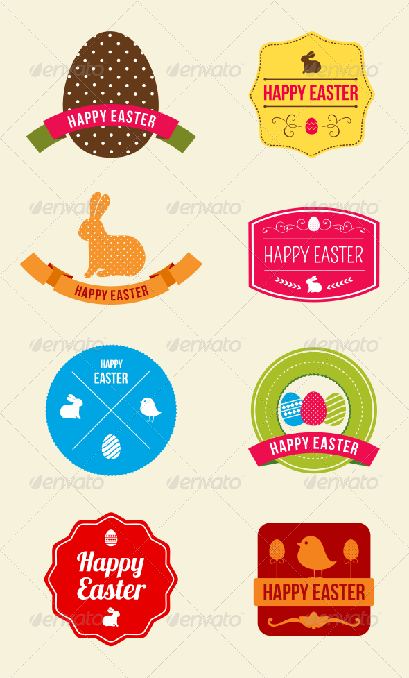 Easter Hipster Vector Emblems and Badges - Seasons/Holidays Conceptual