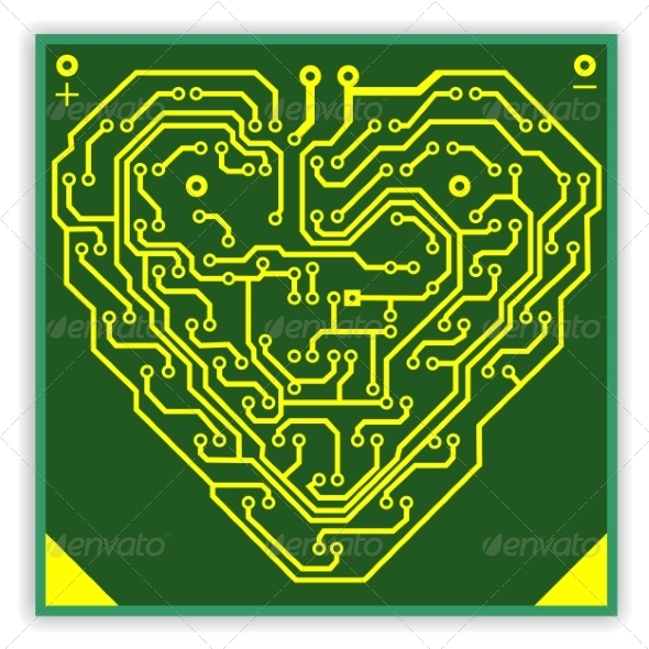 Circuitboard Pattern in the Shape of a Heart - Computers Technology