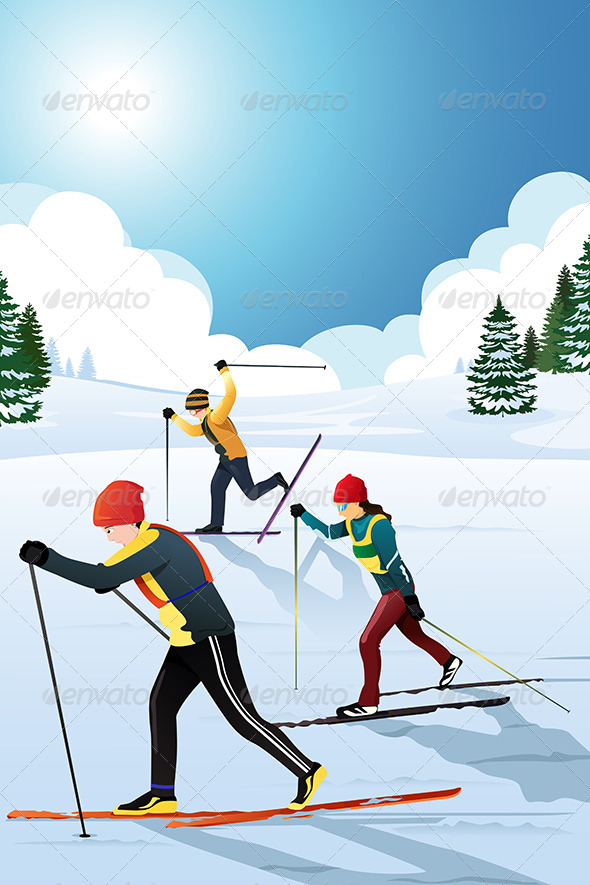 Skiers in the Winter - Sports/Activity Conceptual