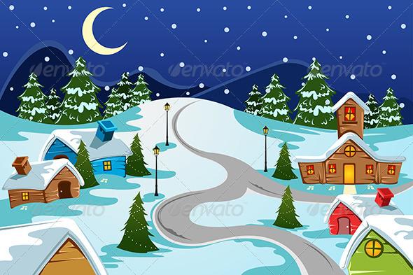 Winter Village - Decorative Vectors