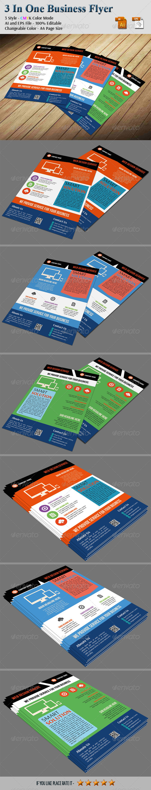 3 In One Business Flyer - Corporate Flyers