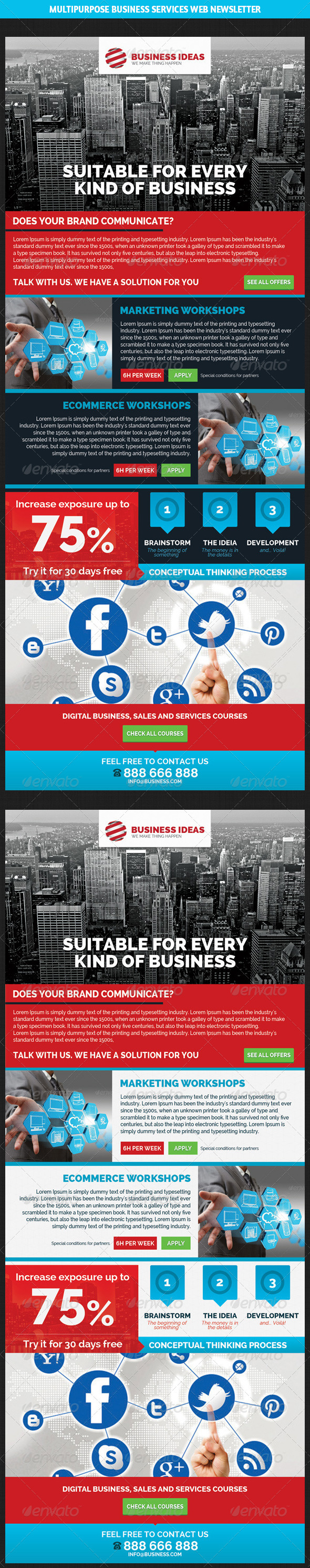 Multipurpose Business & Services Web Newsletter - E-newsletters Web Elements